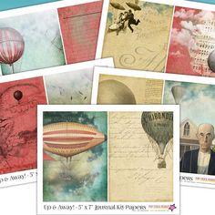 Printable Journal Kit - Hot Air Balloon Dirigible - 5x7 Papers - Steampunk - Journal Insert - Collage - Journaling - Scrap - Junk Journal