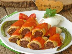 Homemade With Ready Yufka: Beyti Kebab - Beyti Kebab Illustrated Recipe – Recipes - Meat Recipes, Dinner Recipes, Turkish Recipes, Ethnic Recipes, Oven Dishes, Turkish Delight, Iftar, Gluten Free Cakes, Food Illustrations