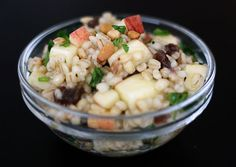 Pearled Barley Salad with Apples, Raisins, and Pine Nuts. OMG this look delish!