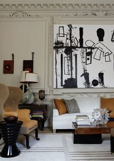Chic living room with black, white, and yellow splashed.