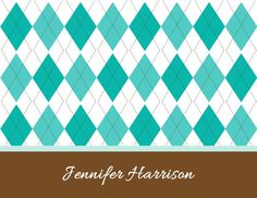 Personalized Argyle Design Folded Note Cards (A2) on Etsy, $10.50