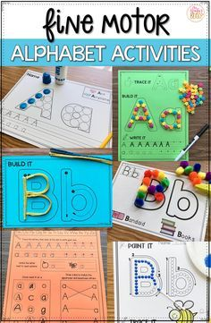Fine motor alphabet activities are a fun learning center for preschool and kindergarten kids. These no prep alphabet printables are ready to use with your children today! Preschool Learning Activities, Preschool Lessons, Fun Learning, Kindergarten Letter Activities, Phonics For Preschool, At Home Toddler Activities, Teaching Toddlers Letters, Handwriting Activities, Preschool Centers