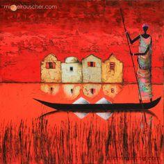 Michel RAUSCHER   Peintures - Huile sur toile - Sans titre - 40 x 40 cm - 2013 African Art Paintings, Colorful Paintings, Art Sketches, Art Drawings, Afrique Art, Tribal African, Art Premier, Silhouette Art, Naive Art