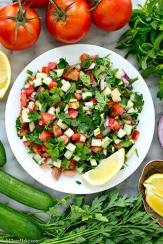 Fresh, crisp and hydrating Jerusalem Salad - you'll want to eat this every day this summer! (It's raw, vegan, gluten free and paleo, too!)