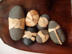 Cane wrapped rocks, Japanese basketry knots. by Basketeer on Flickr