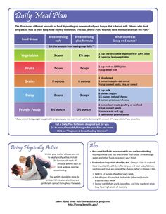 Breastfeeding Moms - Daily Meal Plan http://www.foodpyramid.com/myplate/for-moms/