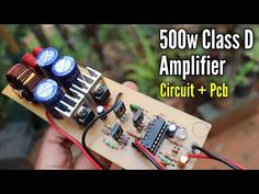 amplifier circuit with PCB layout.DIY Class D amplifier circuit using ic. it is a class-d switching amplifier with high efficiency. Diy Amplifier, Class D Amplifier, Electronic Circuit Projects, Electronics Projects, Amplificador 12v, Audio Crossover, Subwoofer Box Design, Power Supply Circuit, Electronic Schematics