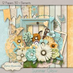 SUMMER GLOW  Digital Scrapbooking Kit  12 Papers by opticillusions, $5.00