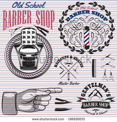 set of vector icons on a theme barber shop