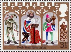 Christmas 3.5p Stamp (1973) 'Good King Wenceslas, the Page and Peasant'