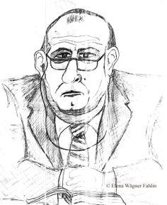 Profesor Tony Peters, Catedrático de Criminología de la Universidad Católica de Lovaina (Bélgica). Dibujo realizado por Elena Wägner Fahlin en Enero de 1994.