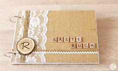 Hochzeit Gästebuch Lückentext selber machen DIY Geschenk Idee basteln Vintage Rustikal Jugestoff Spitze Weiß Kraftpapier
