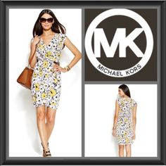 HPMichael Michael kors floral print wrap dress A 60's inspired daisy print brightens up MICHAEL Michael Kors' flattering faux-wrap dress, featuring a hardware waist detail for a polished touch. Polyester/spandex Machine washable Surplice neckline Pullover style Cap sleeves Allover floral print Gathered at side waist with hardware buckle Wrap silhouette Unlined Hits at thigh Color: Floral Michael Kors Dresses
