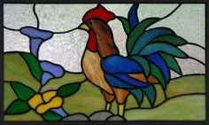rooster & morning flowers - stained glass cabinet insert