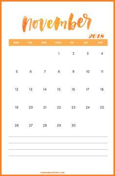 hand lettered 2018 november calendar 2018 calendar excel 2018 calendar template blank calendar