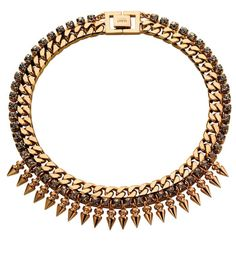 Fall Jewelry Guide at #ShopBAZAAR: Gold Chain Necklaces – Mawi Classic Spiked Crystal Gold Choker