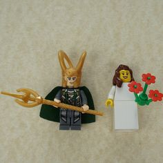 Lego bride and groom, Loki Lego cake topper, Loki Lego, Lego wedding cake topper, Lego Wedding, Lego Couple, Lego minifigures, Lego