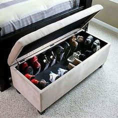 Shoe Ottoman - might help my shoe storage issue! Shoe Storage Organiser, Shoe Organizer, Closet Organization, Organization Ideas, Shoe Storage Ottoman, Ottoman Bench, Tufted Bench, Storage Room, Shoe Storage Pull Out