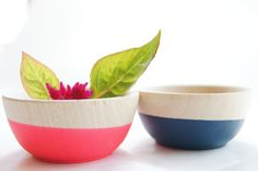 wooden neon bowls