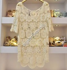 dressy lce tops for women | ... Women Lace Beige Sexy TEE TOP Hippie Bohemian Style Dress | eBay