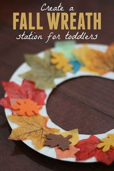 Wreath Making Station for Toddlers Toddler Approved!: Fall Wreath Making Station for ToddlersToddler Approved!: Fall Wreath Making Station for Toddlers Fall Crafts For Kids, Holiday Crafts, Fall Toddler Crafts, Toddler Thanksgiving Crafts, Fall Crafts For Preschoolers, Fall Art For Toddlers, Fun Crafts, Thanksgiving Art, Leaf Crafts