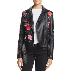 Bagatelle Embellished Faux-Leather Moto Jacket ($110) ❤ liked on Polyvore featuring outerwear, jackets, black, studded biker jacket, studded jackets, studded moto jacket, studded faux leather jacket and faux-leather jackets