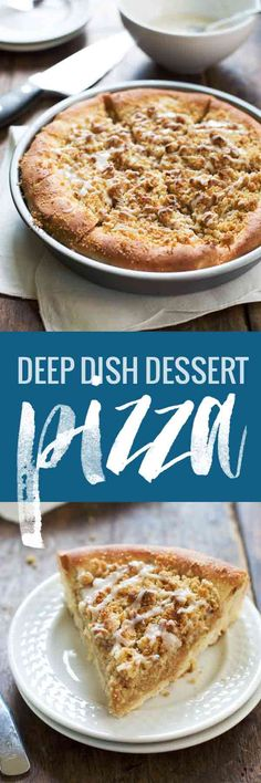 This Deep Dish Cinnamon Streusel Dessert Pizza has buttery brown sugar streusel crumbles and creamy maple glaze. 30 minutes from start to finish.
