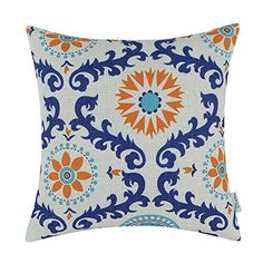 CaliTime Throw Pillow Cover Threetone Dahlia Floral Compass Geometric 18 X 18 Inches >>> Details can be found by clicking on the image.
