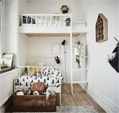 There are lots of fun and practical ways to make the most of a shared room, even if it's a small space. A shared room means having two beds of course. In a small space this can be tricky but with a little imagination and creativity, each child can still have their own little space. Here're some FANTASTIC ideas: https://petitandsmall.com/small-shared-rooms-two/