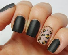 Nail Stories: Matte Black & Nude Leopard