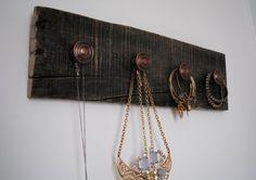 Rustic Pallet Board Jewelry Oranginzer by ALittleDabWillDoYou