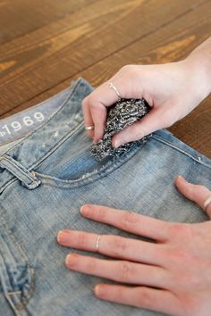 How To DIY 3 Extra-Cute Pairs Of Cut-Off Shorts #refinery29  http://www.refinery29.com/30687#slide-23  Step 11: Using steel wool scrubbers, distress the line you just cut for maximum fraying power.Photographed by Erin Yamagata
