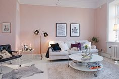 Pink pastel wall in the living-room