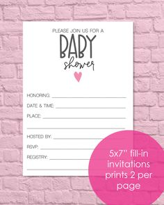 Printable Baby Shower Invitations - Pink Heart - Print It Baby Free Baby Shower Printables, Baby Shower Activities, Printable Baby Shower Invitations, Pink Invitations, Baby Shower Party Supplies, Baby Shower Fun, Baby Shower Parties, Shower Tips, Shower Ideas