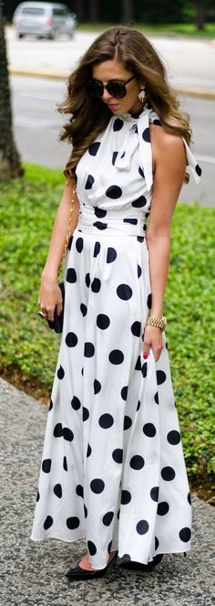 Polka Dot Maxi Inspiration Dress - Spring Chic Outfits