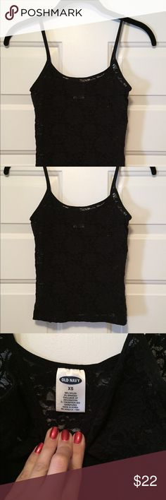 Sexy Black Lace Tank Dress this up and go out. Or use it as lingerie 😉 see through non adjustable spaghetti strap tank. Super nice and in perfect condition worn a couple times with a black tank underneath. Gorgeous detail on this item 😍 Old Navy Tops Tank Tops