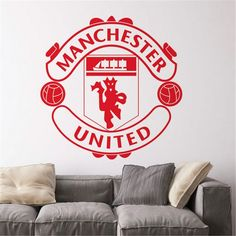 Wall Stickers Sports, Kids Wall Decals, Vinyl Decals, Football Wall, Football Team Logos, Football Bedroom, Soccer Logo, Manchester United, Gifts For Sports Fans
