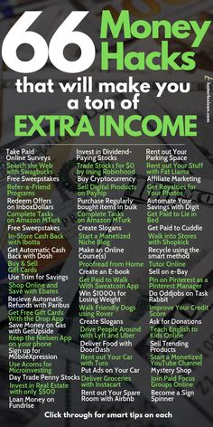 66 Money Hacks that will make you a ton of Extra Income - Tired of a thin bank . 66 Money Hacks that will make you a ton of Extra Income - Tired of a thin bank account? These 66 money hacks will give you the extra income and the financial - Ways To Earn Money, Earn Money From Home, Earn Money Online, Money Tips, Way To Make Money, Money Saving Tips, How To Make, Money Hacks, Managing Money