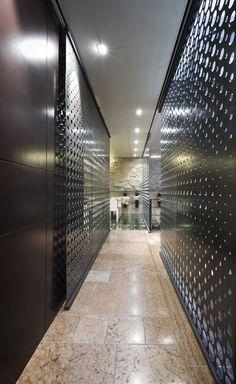 NYU restaurant by I M lab Oderzo Italy 08 NYU' restaurant by I M lab, Oderzo   Italy - perforated metal sliding doors