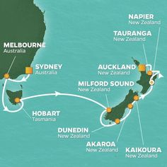 Australia and New Zealand cruise itinerary map, Melbourne to Auckland