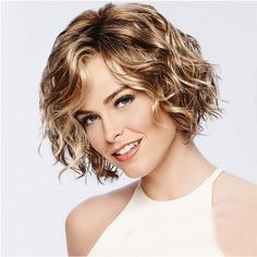 Buy Stylish Vitality Lady Fluffy Short Curly Hair High Temperature Wig - Champagne Gold - and More Synthetic Wigs up to off. Short Curly Haircuts, Curly Hair Cuts, Curly Bob Hairstyles, Curly Hair Styles, Natural Hair Styles, Short Layered Curly Hair, Curly Wigs, Shaggy Short Hair, Natural Wigs