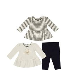 Loving this Navy Stripe Peplum Tops with Pants Set - Infant & Toddler on #zulily! #zulilyfinds