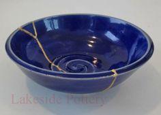 kintsugi repair - small blue bowl