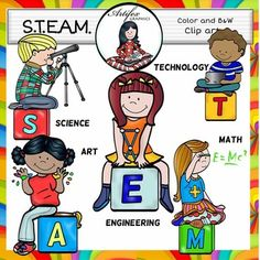 S.T.E.A.M (Science, Technology, Engineering, Art and Math) Clip Art set features 10 items: 5 clip arts in color. 5 clip arts in black & white.All images are 300 dpi, Png files.This clipart license allows for personal, educational, and commercial small business use.