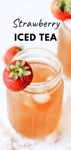 This strawberry infused green iced tea is so easy to make and absolutely delicious! No syrup making, no crushing strawberries, just frozen strawberries and green tea with your favorite choice of sweetener! #best #easy #summerdrinkrecipes #summerdrinks #homemade #southern #sweettea #icedtea