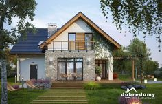 126,2m2 - Elsa - Dobre Domy Flak & Abramowicz Small Modern House Plans, Contemporary House Plans, Modern House Design, House Roof, Facade House, Philippines House Design, German Houses, Philippine Houses, Sims House