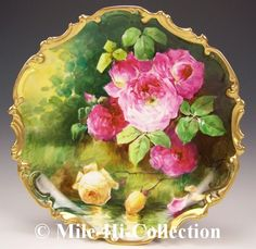 """LIMOGES FRANCE HAND PAINTED ROSES REFLECTING OVER WATER SIGNED """"DUVAL"""""""