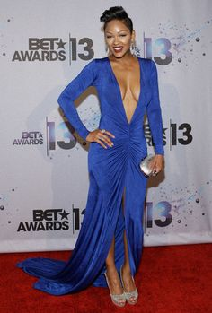 Meagan Good took a daring step by wearing this plunging blue dress. Props to her for rocking this look! See other stars here: http://www.examiner.com/slideshow/bet-awards-best-dressed-on-the-red-carpet