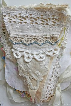 Handmade banner using vintage lace and linens