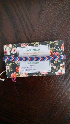 Peach, dark red and blue chevron pattern friendship bracelet by JolieTreasure on Etsy
